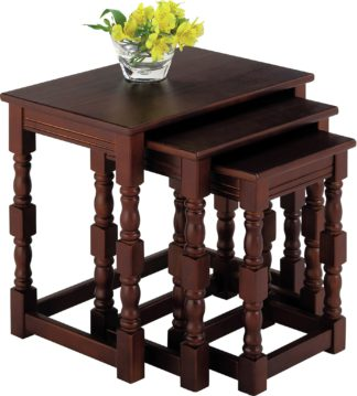 An Image of Argos Home Devon Nest of 3 Solid Pine Tables - Walnut Effect