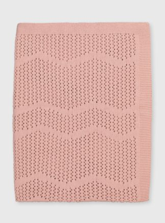 An Image of Pink Organic Cotton Blanket - One Size