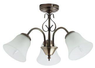 An Image of Argos Home Elisa 3 Light Glass Ceiling Light - Antique Brass