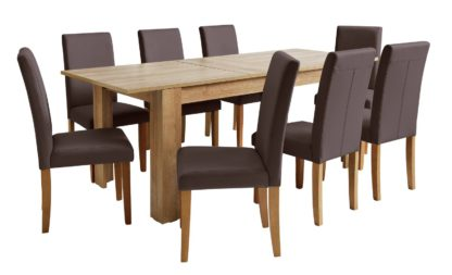 An Image of Habitat Miami XL Extending Table & 8 Grey Chairs