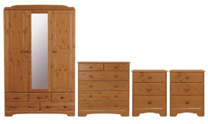 An Image of Argos Home Nordic 4 Piece 3 Door Wardrobe Set - Pine