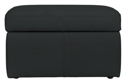 An Image of Habitat Leather Storage Footstool - Grey