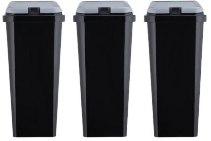 An Image of Argos Home Trio of Recycling Bins - Black