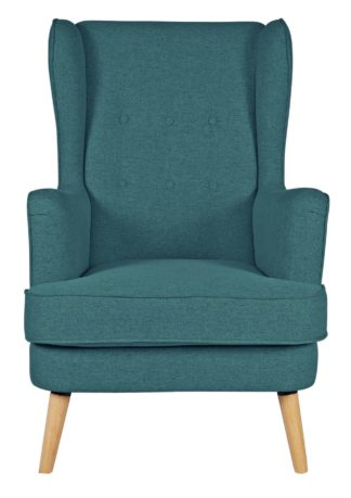 An Image of Habitat Callie Fabric Wingback Chair - Teal