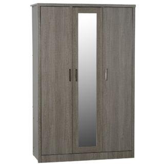 An Image of Lennon Black 3 Door Wardrobe Black