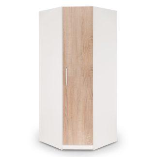 An Image of Euston Corner Wardrobe White and Brown