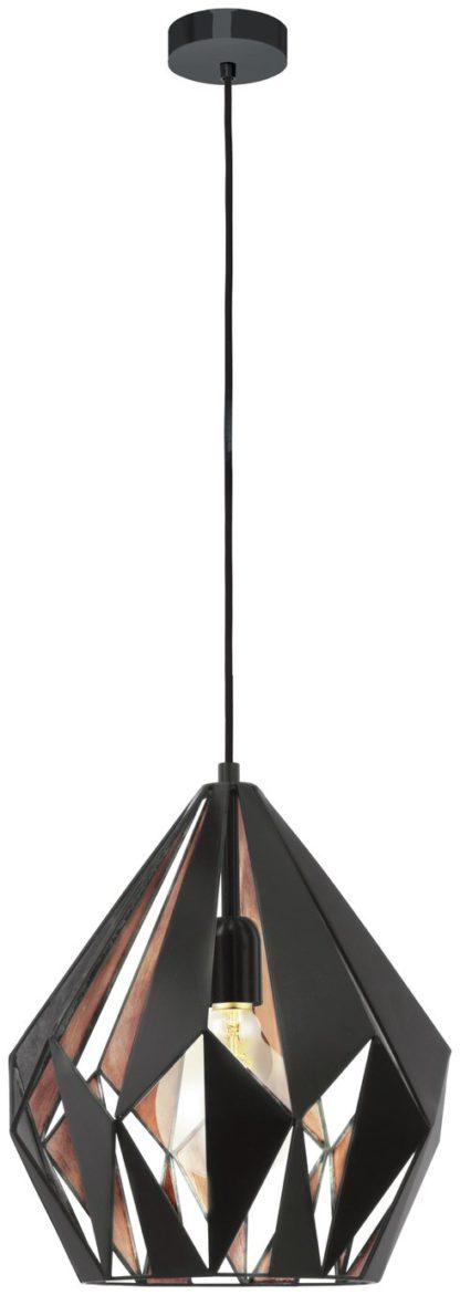 An Image of Eglo Carlton Pendant Light - Black & Copper