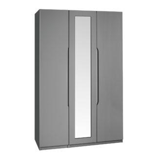 An Image of Legato Grey 3 Door Mirrored Wardrobe Grey