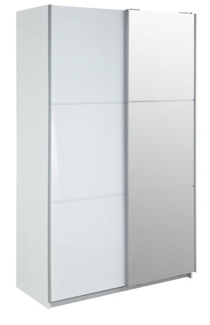 An Image of Habitat Holsted Medium White & Mirrored Wardrobe