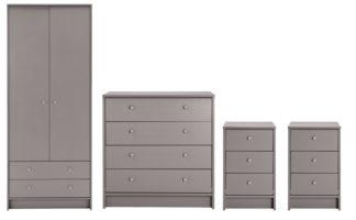 An Image of Habitat Malibu 4 Piece 2 Door Wardrobe Set - Grey