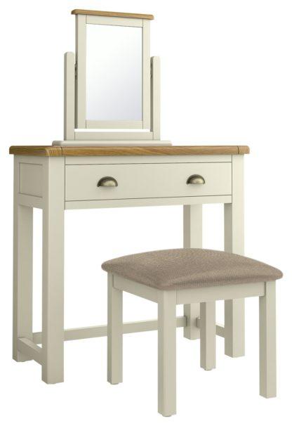 An Image of Habitat Kent Dressing Table, Stool Mirror - Cream/Oak