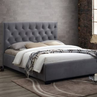 An Image of Cologne Fabric Bed Frame Grey