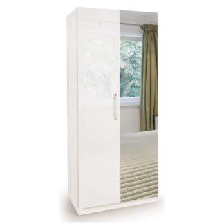 An Image of Angel High Gloss 2 Door Mirror Wardrobe White