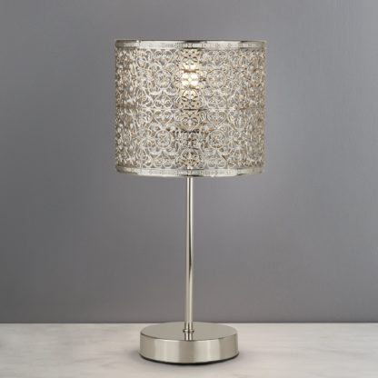 An Image of Tunis Fretwork Chrome Table Lamp Silver
