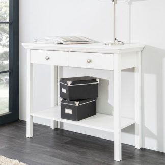 An Image of Country Console Table In White With 2 Drawers
