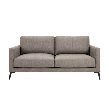 An Image of Frey PU Leather 2 Seater Sofa - Grey Grey
