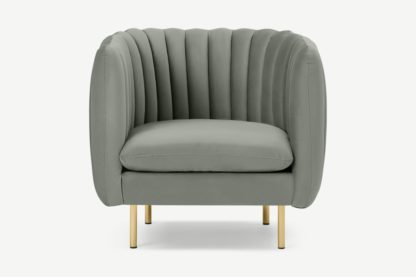 An Image of Helma Accent Armchair, Sage Green Velvet
