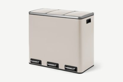 An Image of Colter 54L Soft Close Triple Recycling Pedal Bin, x3 18L, Off White