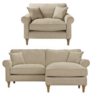 An Image of Habitat William Fabric Chair & Corner Sofa - Natural