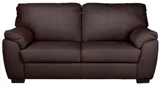 An Image of Argos Home Milano 3 Seater Leather Sofa - Chocolate
