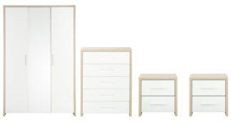 An Image of Habitat Broadway 4 Piece 3 Door Wardrobe Set -Oak & White