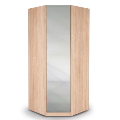 An Image of Hyde Mirrored Corner Wardrobe Brown