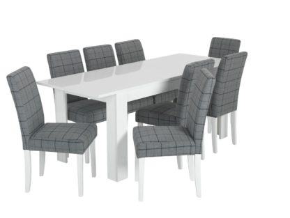 An Image of Habitat Miami White Gloss Extending Table & 8 Chair -Blue