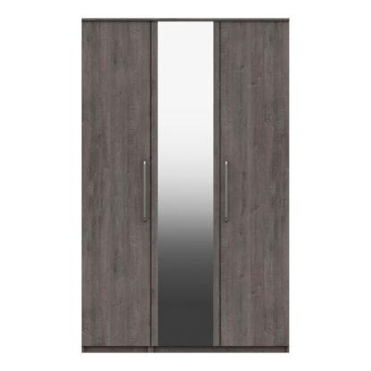 An Image of Parker Grey 3 Door Mirrored Wardrobe Dark Grey