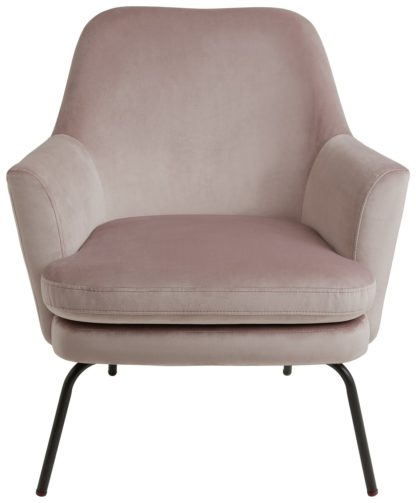 An Image of Habitat Celine Velvet Accent Chair - Pink