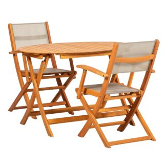 An Image of Royal Craft Chelsea Wooden 2 Seat Bistro Set Natural