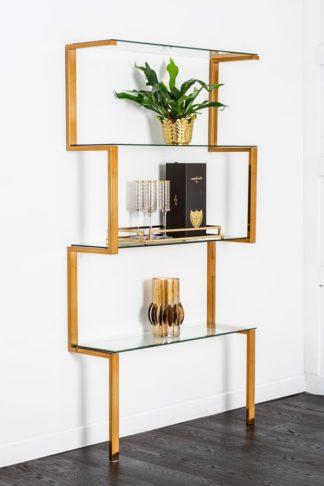 An Image of Miko Single Shelf Unit Brass