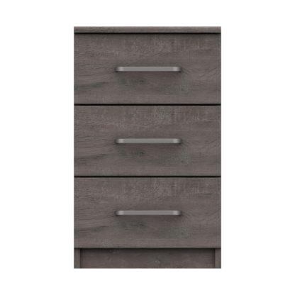 An Image of Parker Grey 3 Drawer Bedside Table Dark Grey