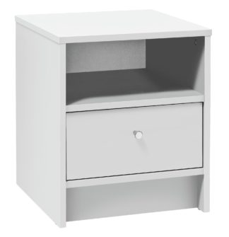 An Image of Habitat Malibu 1 Drawer Bedside Table - White