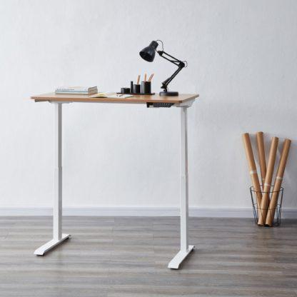 An Image of Apollo Oak Effect Adjustable Standing Smart Desk Mid Oak (Brown)