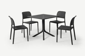 An Image of Nardi 4 Seat Dining Set, Dark Grey Fibreglass & Resin