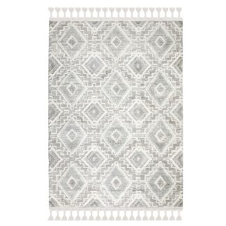 An Image of Victoria Geometric Rug Grey and White