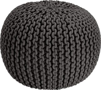 An Image of Habitat Cotton Knitted Pod Footstool - Charcoal