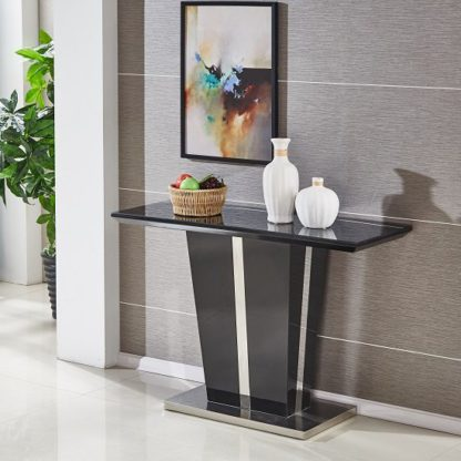 An Image of Memphis Console Table In Black High Gloss With Glass Top