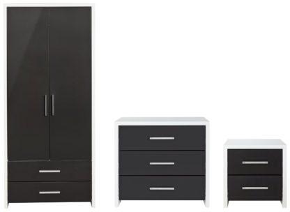 An Image of Habitat Broadway Gloss 3 Piece Wardrobe Set -Black/ White