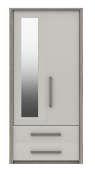 An Image of Grasmere 2 Door 2 Drawer Mirror Wardrobe - White