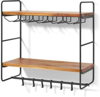 An Image of Annalie 2-Tier Interchangeable Wall-Mounted Storage Unit with Rubber Wood Shelves, Black