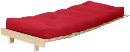 An Image of Habitat Single Futon Sofa Bed with Mattress - Red