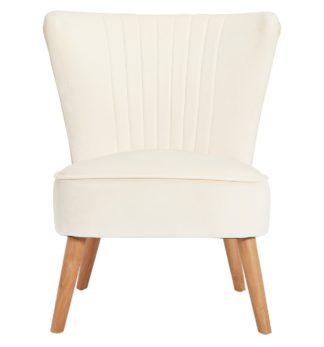 An Image of Habitat Alana Velvet Shell Back Accent Chair - Natural