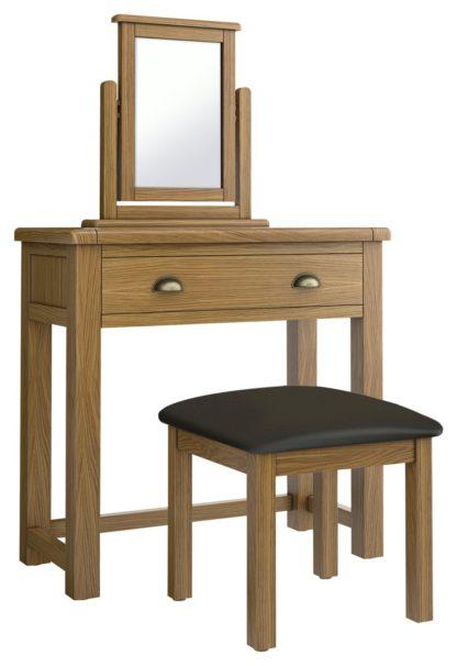 An Image of Habitat Kent 1Drw Dressing Table, Stool, Mirror - Oak