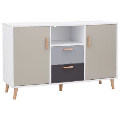 An Image of Delta 2 Door 2 Drawer Sideboard - White & Grey