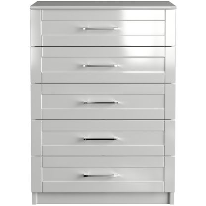 An Image of One Call Colby Gloss 5 Drawer Chest of Drawers - White