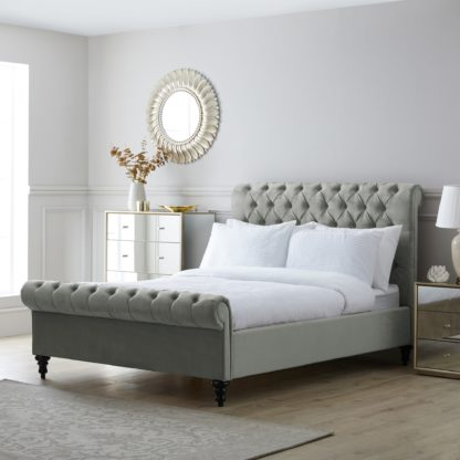 An Image of Classic Grey Chesterfield Bed Grey
