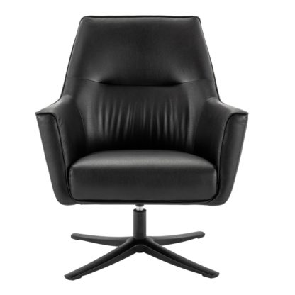 An Image of Habitat Rhett Faux Leather Swivel Chair - Black