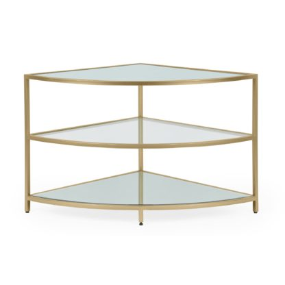 An Image of Claudia Gold Effect Corner TV Stand Gold