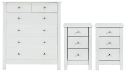An Image of Habitat Osaka 2 Bedsides & 4+2 Drawer Chest Set - White
